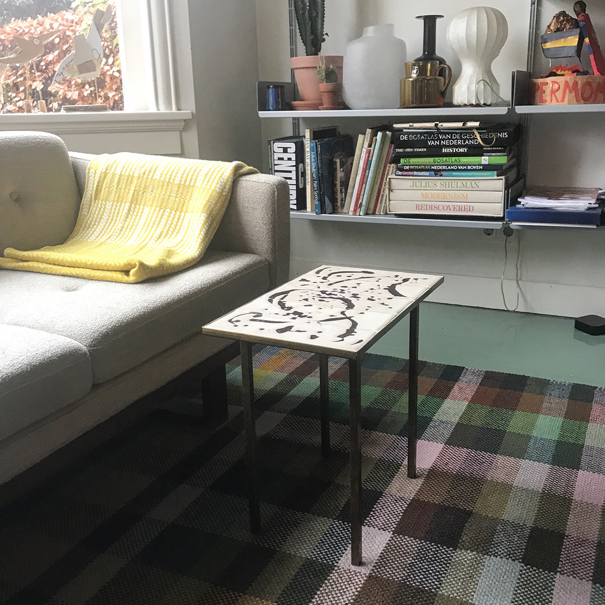 Grote Smalle Sidetable.Tile Table Tiles Brass Dots Lies Rollmann Haarlem